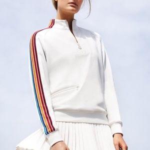 TORI SPORT White Rainbow Stripe 1/4 Zip Pullover